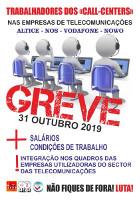 Call Center Streikplakat Portugal November 2019