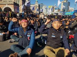 Eisenbahnstreik Südkorea November 2019 mit massiver Beteligunng trotz grosser Notdienste