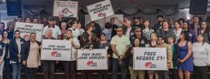 Solidaritätsaktion der neuseeländischen Gewerkschaft First gegen den Polizeiüberfall auf philippinische Gewerkschafter am 31. Oktober 2019
