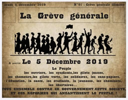 """FRankreich: Generalstreik gegen die """"Rentenreform"""" am 5. Dezember 2019"""