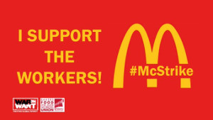 Logo der Solikapagne mit dem Mc Donalds Streik in London am 12.11.2019