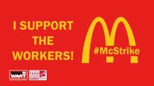 Logo der Solikapagne mit dem Mc Donalds Streik in London am 12.11.2019