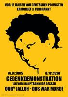 Mord verjährt nicht – 15. Gedenkdemonstration für Oury Jalloh am 07.01.2020 in Dessau