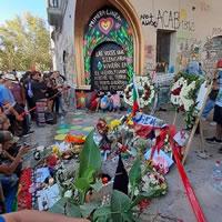 Gedenkstätte für Mauricio Fredes, Opfer eines Wasserwerferangriffs der Carabineros in Chile Ende Dezember 2019
