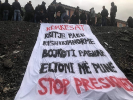 Protest im albanischen Chrombergwerk: Für das Recht auf eine eigene Gewerkschaft im Dezember 2019
