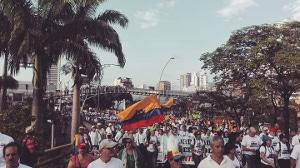 Die Demonstration in Bogota beim dritten Generalstreik innerhalb von zwei Wochen - dem 04.12.2019 - war die größte seit Jahrzehnten...