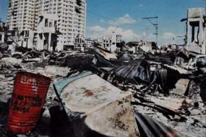 Panama Stadt nach dem Bombenangriff der US-Menschenrehctskrieger am 20.12.1989