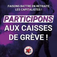 Ein Aufruf für die Streikkassen in frankreich im Dezember 2019 zu spenden - hier für mehrere Kassen bei secours rouge
