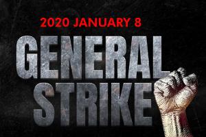 Das Plakat der 10 indischen Gewerkschaftsföderationen die am 8.1.2020 zum erneuten Generalstreik gegen die Arbeitsgesetzgebung aufrufen