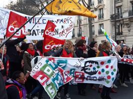 Streikende Kommunalbedienstete der Stadt Paris am 16.01.20. Foto: Bernard Schmid