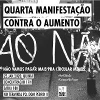 Plakat mit dem Aufruf zur nächsten Demonstration gegen die Fahrpreiserhöhung in Sao Paulo am 23.1.2020