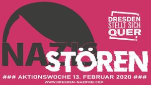 Mobilisierungsplakat für Dresdener Aktionstage im Februar 2020