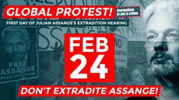 Internationaler Protesttag für die Freilassung von Julian Assange am Montag, 24.2.2020