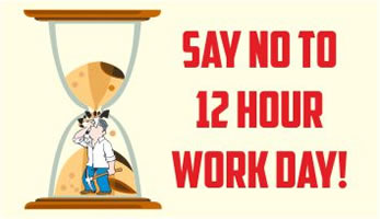NTUI in Indien: Say No To 12 Hour Workday