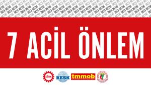 Plakat zum 7 Punkte Plan der türkischen Gewerkschaften gegen Corona