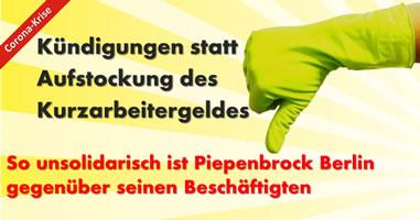 [IG BAU] Kündigungen statt Aufstockung des Kurzarbeitergeldes: So unsolidarisch ist Piepenbrock in Berlin zu seinen Beschäftigten