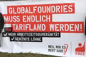 Warnstreik beim Dresdner Chiphersteller Globalfoundries für die Aufnahme von Tarifverhandlungen