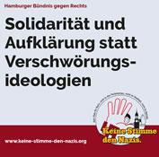 Hamburger Bündnis gegen Rechts warnt vor zunehmender Radikalisierung der Verschwörungsideolog*innen in Hamburg