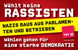 ver.di NRW-Aktionswoche 17. bis zum 22. August: Nazis raus aus Parlamenten und Betrieben