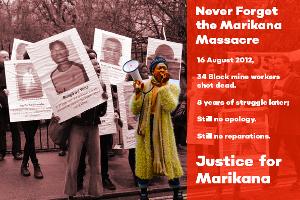 Plakat zur Mobilisierung der Marikana-Solidarität in Südafrika und Großbritannien 2020