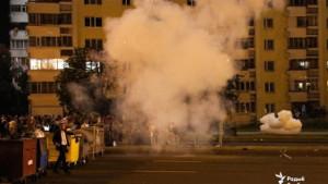 Protest am 2. Tag nach der Wahl in der Hauptstadt von Belarus