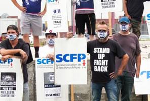 Syndicat canadien de la fonction publique – SCFP - im Juli 2020 im Streik im Hafen von Montreal