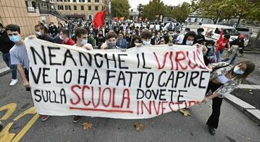 Protestaktionen gegen Bildungsministerin am 25. und 26. September 2020 in ganz Italien