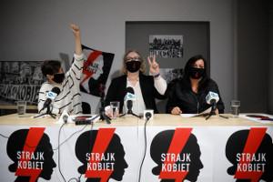 Pressekonferez des Frauestreik-Komitees in Warschau