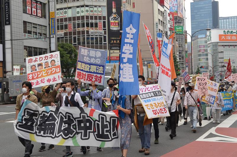 2021年6月6日に東京でオリンピックに反対する集会:学生が参加