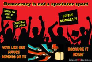 UE-Plakat zur US-Wahl 2020: Streik für demokratische Rechte