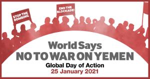 Mobiliserungsplakat zum Ationstag gegen Jemenkrieg am 25.1.2021