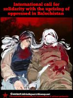 Soliplakat mit der Rebellion in Iranisch Belutschistan im Februar 2021