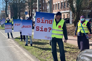 Straßenaktion im Arbeitskampf verdi ./. gegen TSP/ LEG in Münster (Foto: Frank Biermann)