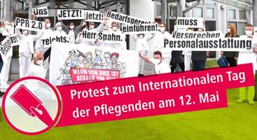 Proteste zum Internationalen Tag der Pflegenden am 12. Mai 2021: Beschäftigte aus Kliniken und Pflegeeinrichtungen zeigen Spahns Politik die Rote Karte