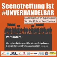 Europaweiter Aktionstag am 7. August: Seenotrettung ist unverhandelbar! Free the Ships – Stop the Pushbacks – Menschenrechte jetzt!
