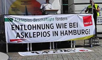 Warnstreiks in Brandenburger Asklepios-Kliniken für Entlohnung nach TVöD wie in Hamburg
