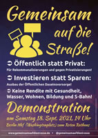 """Berlin geht """"Gemeinsam auf die Straße"""" am 18.9.21: Öffentlich statt privat"""